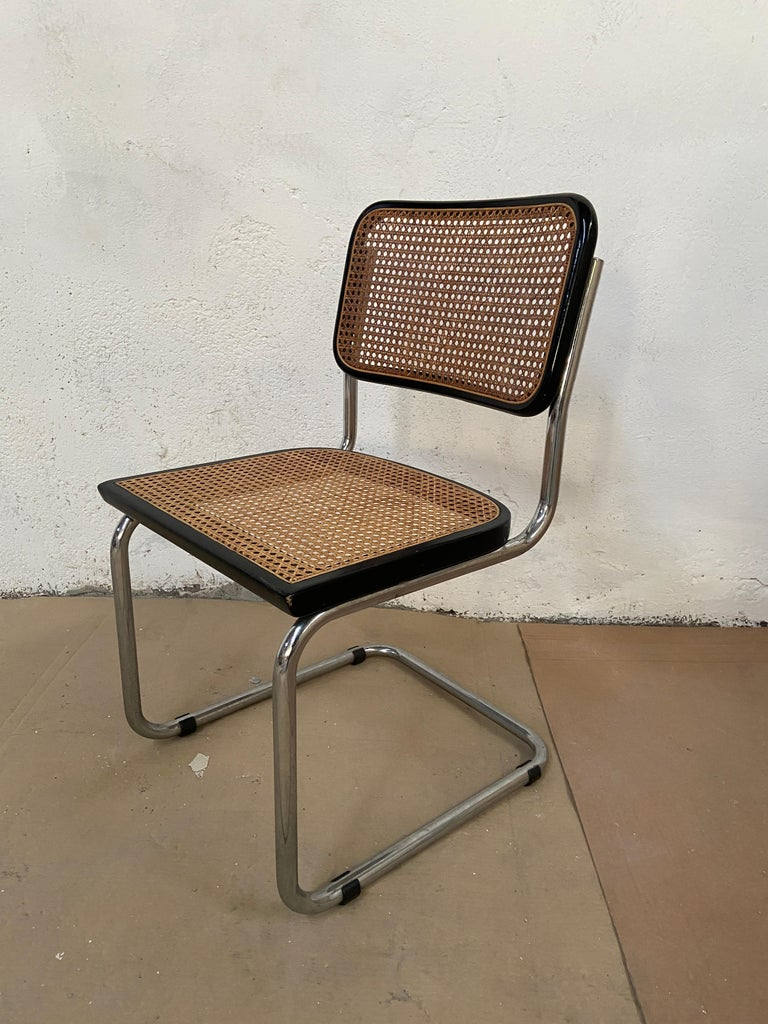 Mid-Century Modern Italian Set of Chrome and Black Cesca Chair by Marcel Breuer For Sale 2