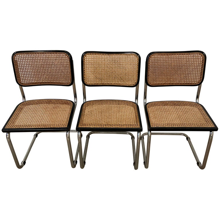 Mid-Century Modern Italian Set of Chrome and Black Cesca Chair by Marcel Breuer For Sale