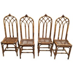 Mid-Century Modern Italian Set of Four Bamboo and Rattan Chairs, 1960s