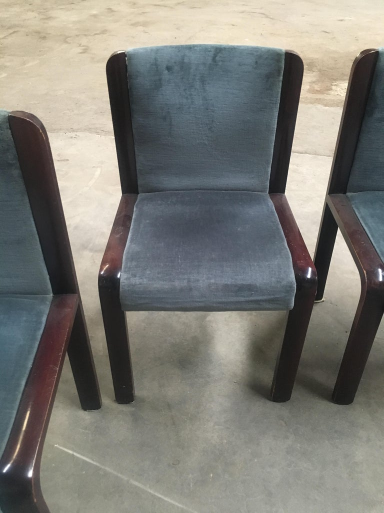 Late 20th Century Mid-Century Modern Italian Set of Four Dining Chairs in the Style of Joe Colombo For Sale