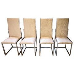 Mid-Century Modern Italian Set of Romeo Rega Chrome Chairs with Chenille Fabric