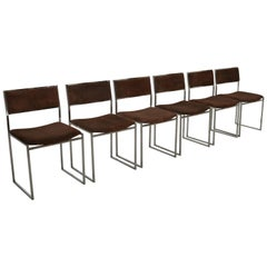 Mid-Century Modern Italian Set of Six Chrome Chairs by Willy Rizzo.,1970s