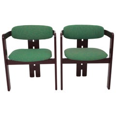 Mid-Century Modern Italian Set of Two Beech Red Vintage Dining Chairs, 1970s