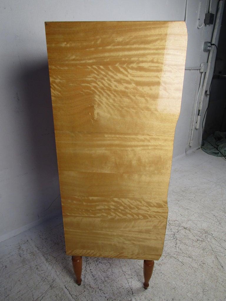 Late 20th Century Mid-Century Modern Italian Seven Drawer Highboy Dresser For Sale