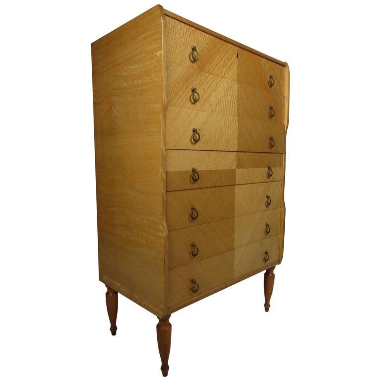Mid-Century Modern Italian Seven Drawer Highboy Dresser For Sale