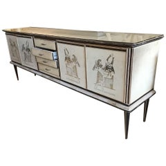 Mid-Century Modern Italian Sideboard with Egyptian Motives by Umberto Mascagni