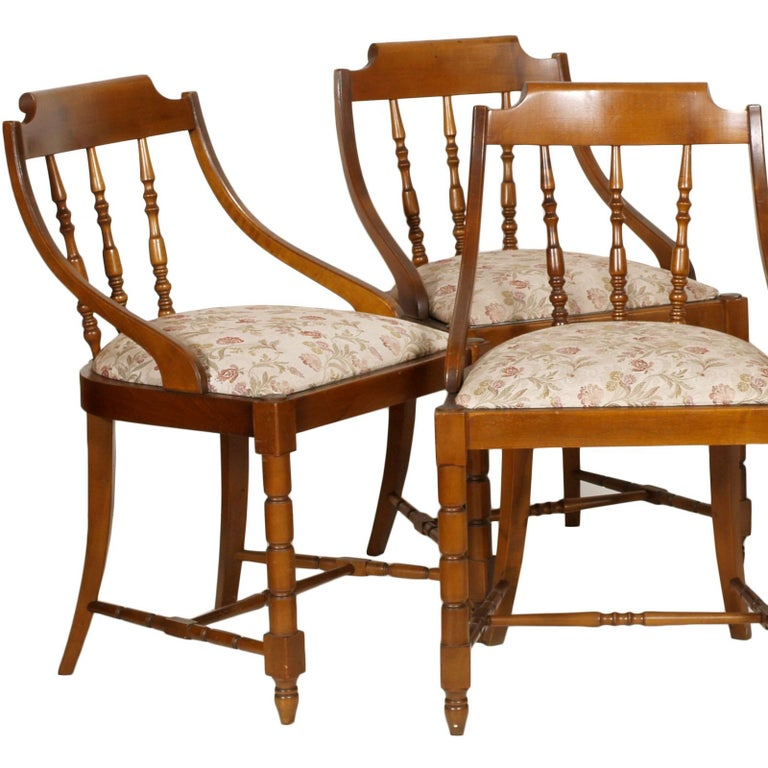 1950s, Italian six Gondola dinner chairs, country style, in solid walnut, with original upholstery sanitized, still usable  With new custom upholstery, extra charge of 600 Euros  Measures cm: H 50/110, W 50, W 50.