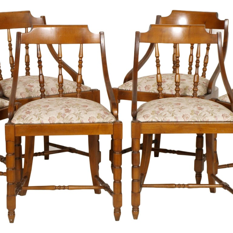 Country Mid-Century Modern Italian Six Gondola Dinner Chairs Walnut, Original Upholstery For Sale