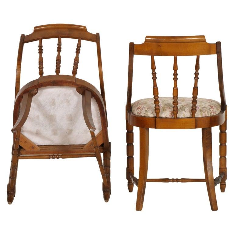 Mid-Century Modern Italian Six Gondola Dinner Chairs Walnut, Original Upholstery For Sale 1