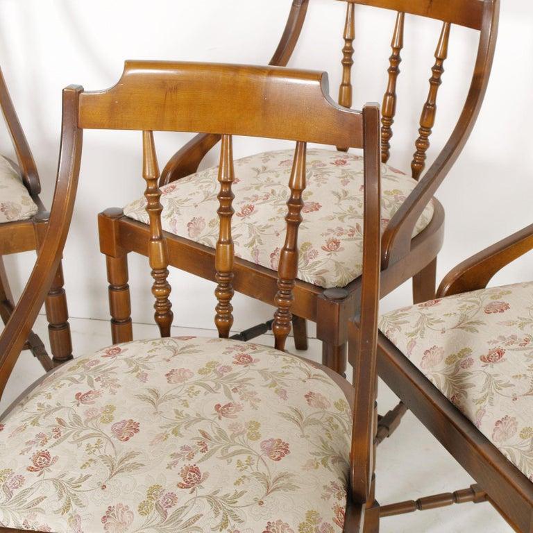 Mid-Century Modern Italian Six Gondola Dinner Chairs Walnut, Original Upholstery For Sale 2