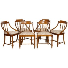 Mid-Century Modern Italian Six Gondola Dinner Chairs Walnut, Original Upholstery