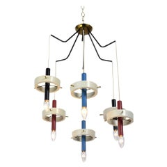 Mid-Century Modern Italian Six Lights Painted Chandelier