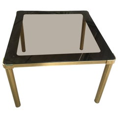 Mid-Century Modern Italian Smoked Glass Top Gilt Metal Table, 1970s