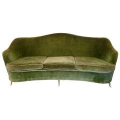 Mid-Century Modern Italian Sofa with Brass Feet by Gio Ponti for ISA, 1950s