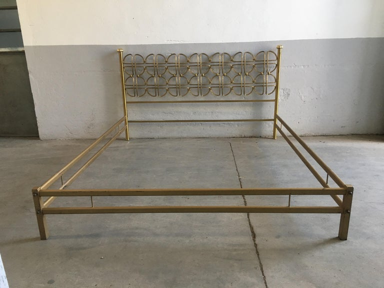 Mid-Century Modern Italian Solid Brass Queen Size Bed, 1970s 2