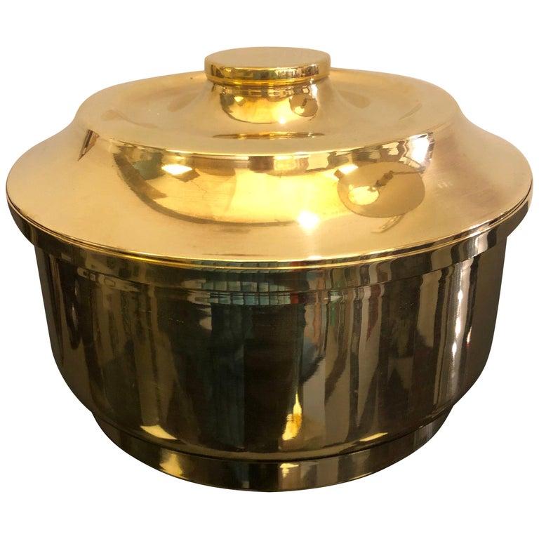 Mid-Century Modern Italian Solid Brass Round Ice Bucket, circa 1970 For Sale
