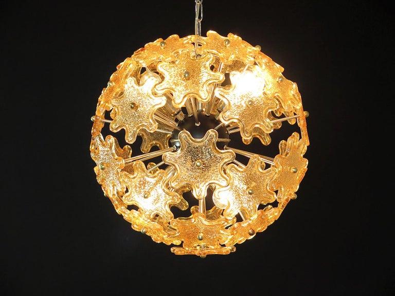 Blown Glass Mid-Century Modern Italian Sputnik Chandelier, Murano Glass
