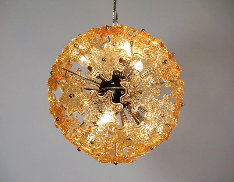 Mid-Century Modern Italian Sputnik Chandelier, Murano Glass 4