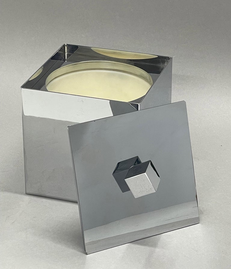 Mid-Century Modern Italian Square Ice Bucket, 1970s For Sale 10
