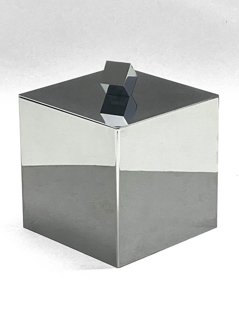 Mid-Century Modern Italian Square Ice Bucket, 1970s In Good Condition For Sale In Roma, IT