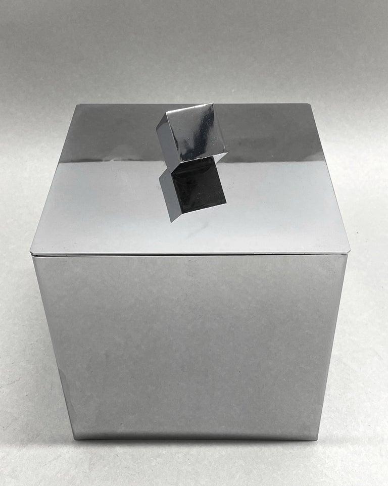 Mid-Century Modern Italian Square Ice Bucket, 1970s For Sale 3