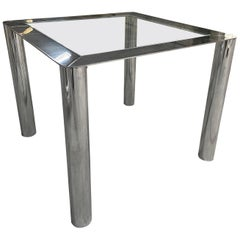 Mid-Century Modern Italian Steel and Glass Dining Table by Cinova, 1969