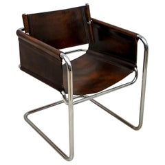 """Mid-Century Modern Italian Steel and Leather """"Bauhaus"""" Style Armchair, 1960s"""