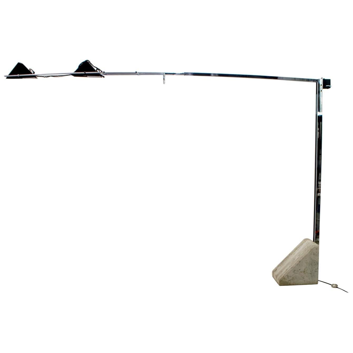 Mid-Century Modern Italian Steel and Travertine Floor Lamp, 1970s