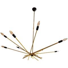 Mid-Century Modern Italian Stilnovo Attributed Brass Sputnik Ten-Arm Chandelier