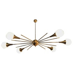 Mid-Century Modern Italian Stilnovo Style Brass and Glass Sputnik Chandelier