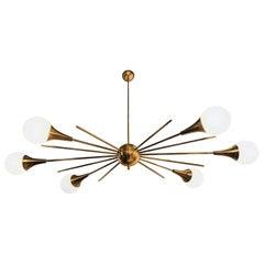 Mid-Century Modern Italian Stilnovo Style Brass & White Glass Sputnik Chandelier