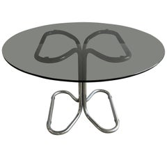 Mid-Century Modern Italian Stoppino Dining Table with Chrome Base and Glass Top