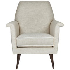 Mid-Century Modern Style Italian Style Club Chair by Martin and Brockett, Linen