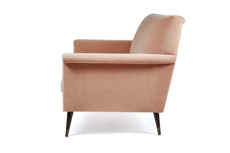 American Mid-Century Modern Style Italian Loveseat by Martin and Brockett, Blush Pink For Sale