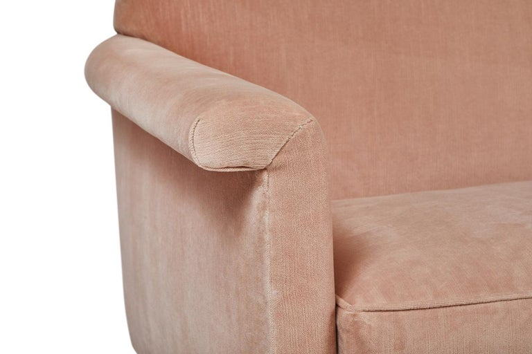 Contemporary Mid-Century Modern Style Italian Loveseat by Martin and Brockett, Blush Pink For Sale