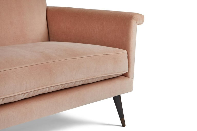 Upholstery Mid-Century Modern Style Italian Loveseat by Martin and Brockett, Blush Pink For Sale