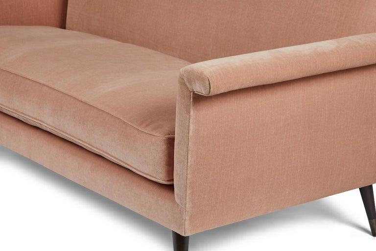 Mid-Century Modern Style Italian Loveseat by Martin and Brockett, Blush Pink For Sale 1