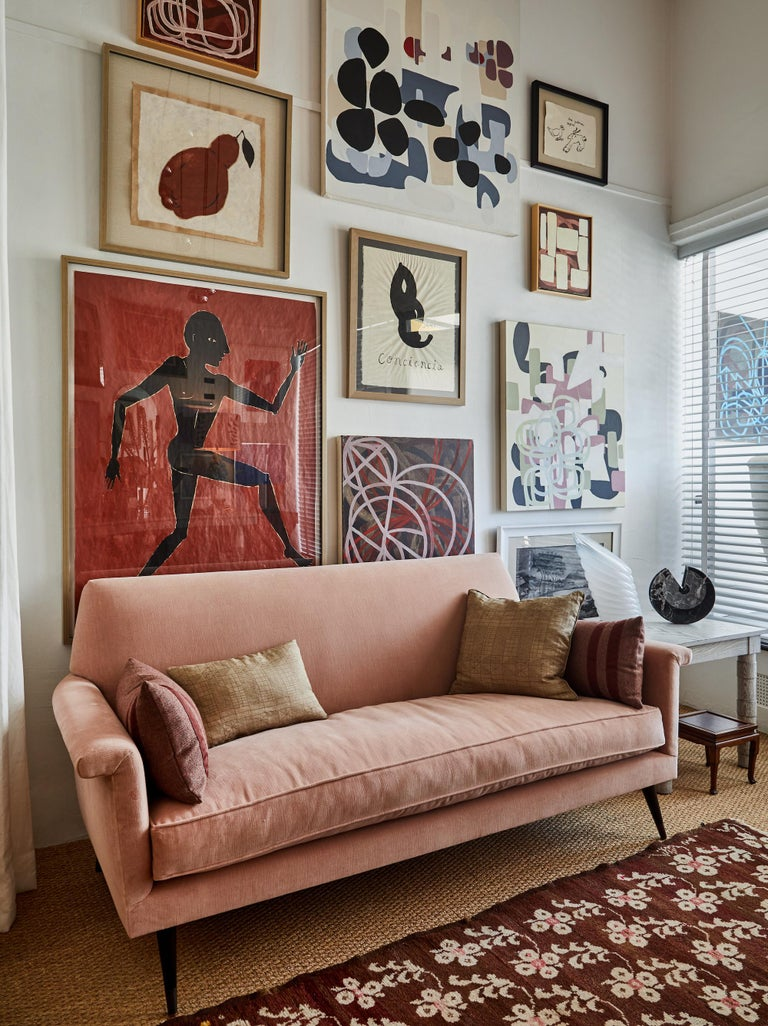 Mid-Century Modern Style Italian Loveseat by Martin and Brockett, Blush Pink For Sale 2