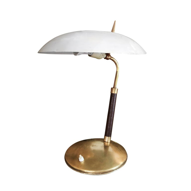 Mid-Century Modern 20th Century White Italian Leather Table Lamp - Brass Light by Stilnovo  For Sale