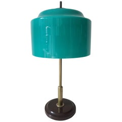 Mid-Century Modern Italian Table Lamp with Glass Shade by Lumi