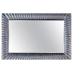 Mid-Century Modern Italian Textured Clear Murano Glass Framed Wall Mirror, 1960s
