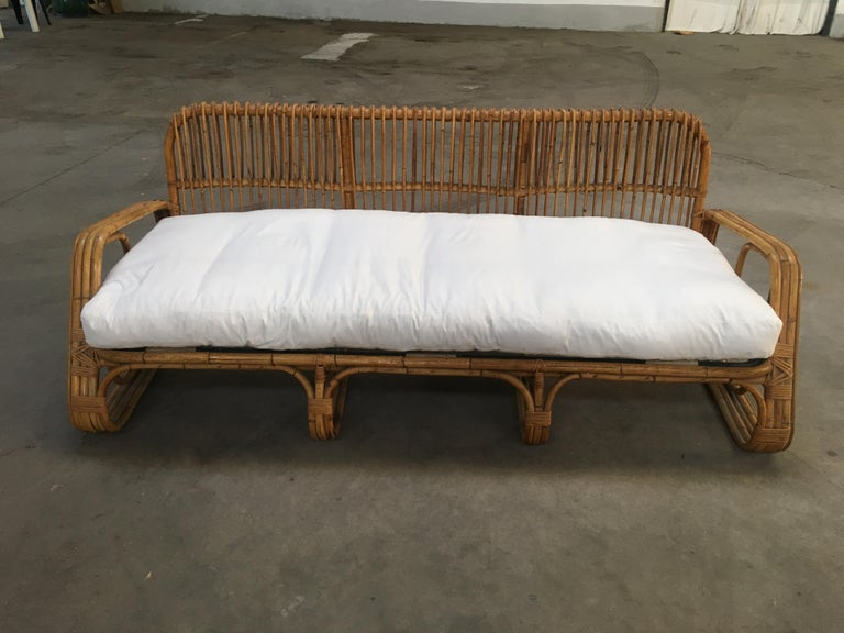 Mid-Century Modern Italian Three-Seat Bamboo Sofa, 1960s 2