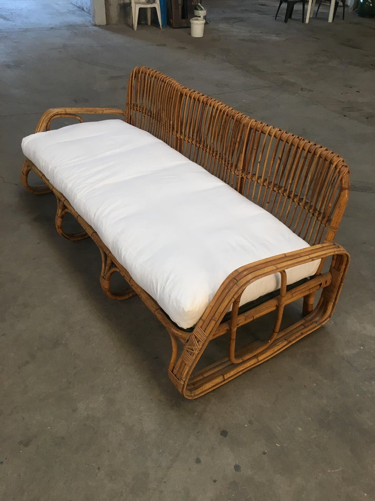 Mid Century Modern Italian Three Seat Bamboo Sofa 1960s