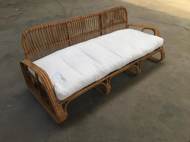 Mid-Century Modern Italian Three-Seat Bamboo Sofa, 1960s 4