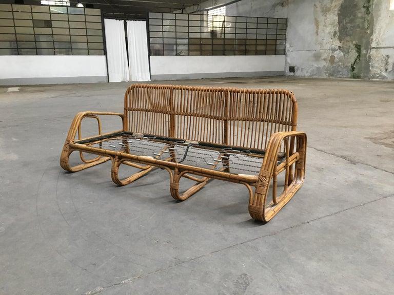 Mid-Century Modern Italian Three-Seat Bamboo Sofa, 1960s 7