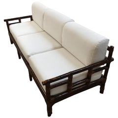 Mid-Century Modern Italian Three-Seat Bamboo Sofa, 1970s