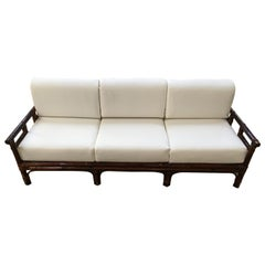 Mid-Century Modern Italian Three-Seat Bamboo Sofa with Cushions, 1970s