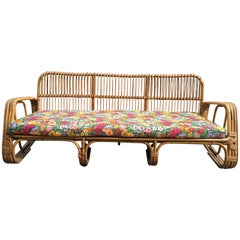 Mid-Century Modern Italian Three-Seat Bamboo Sofa with Original Floral Cushions