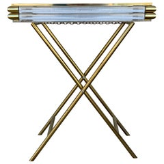 Mid-Century Modern Italian Tray Table with Brass Legs by Montagnani