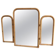 Mid-Century Modern Italian Triptych Bamboo Framed Lit Mirror, 1970s